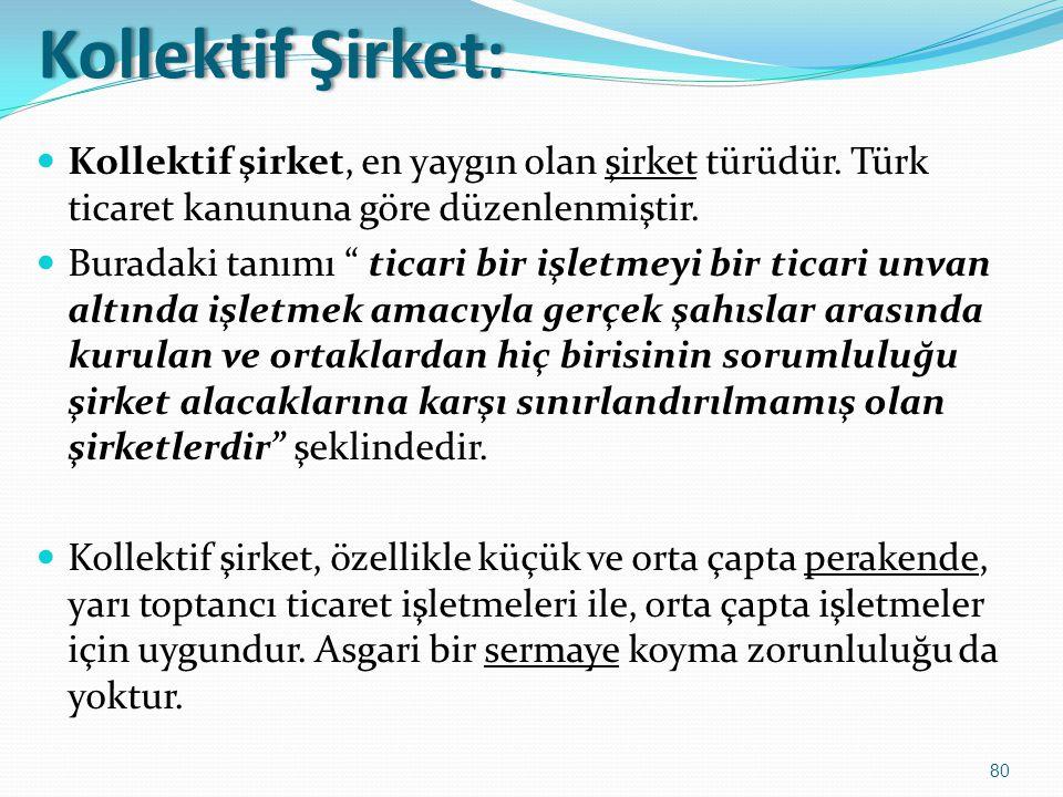 Kollektif Şirket: Kollektif şirket, en yaygın olan şirket türüdür. Türk ticaret kanununa göre düzenlenmiştir.