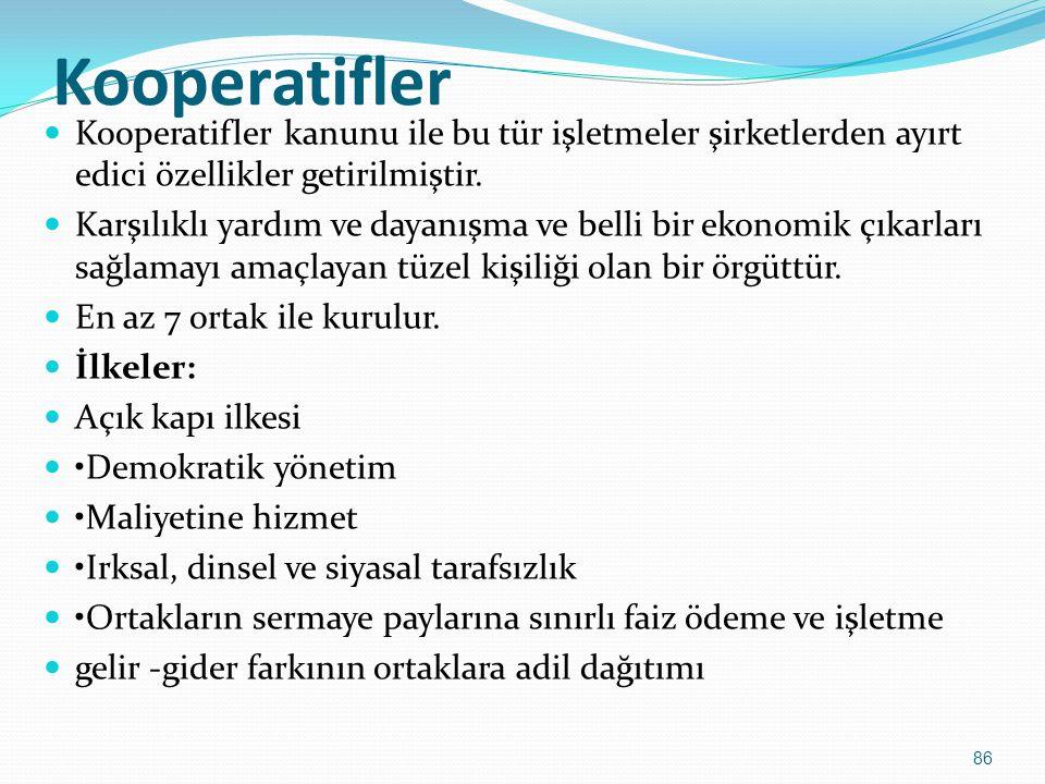 Kooperatifler Kooperatifler kanunu ile bu tür işletmeler şirketlerden ayırt edici özellikler getirilmiştir.