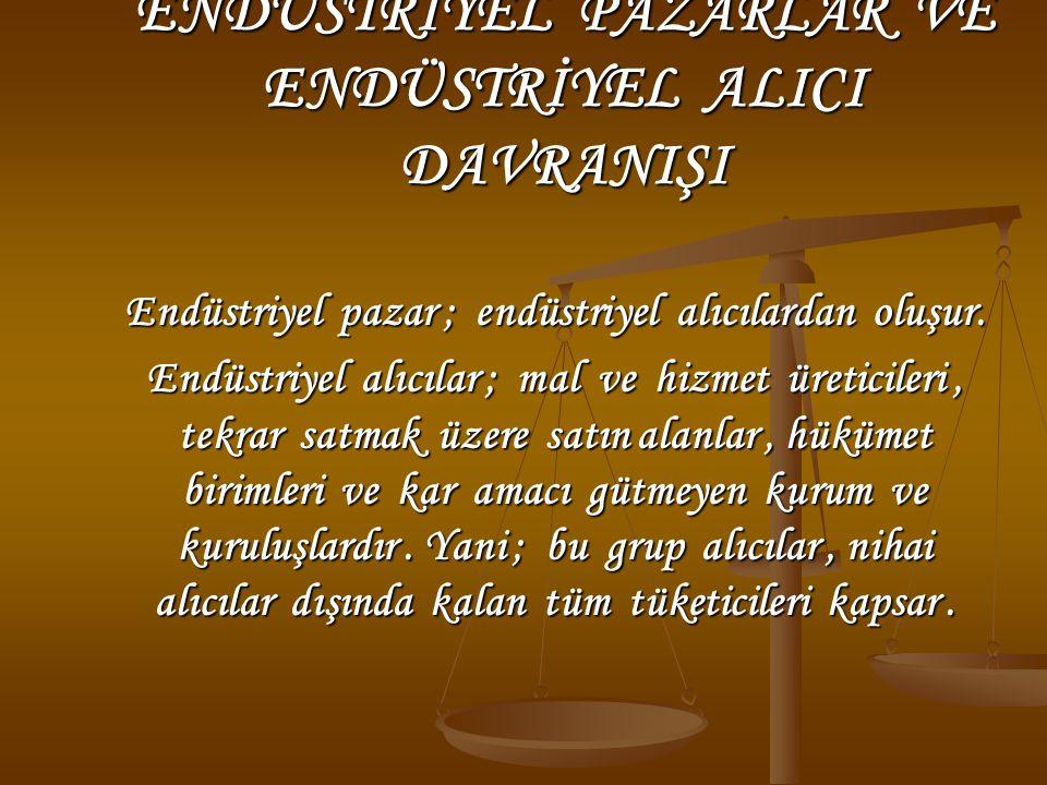 ENDÜSTRİYEL PAZARLAR VE ENDÜSTRİYEL ALICI DAVRANIŞI