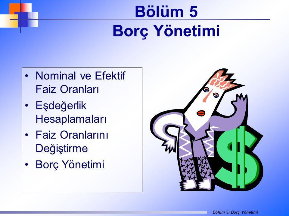 Bölüm 5 Borç Yönetimi Nominal ve Efektif Faiz Oranları