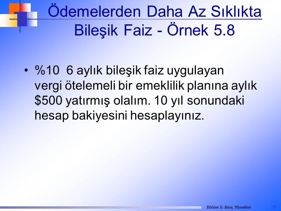 Ödemelerden Daha Az Sıklıkta Bileşik Faiz - Örnek 5.8