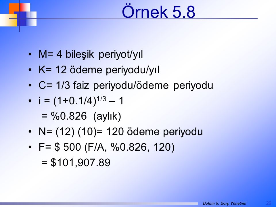 Örnek 5.8 M= 4 bileşik periyot/yıl K= 12 ödeme periyodu/yıl