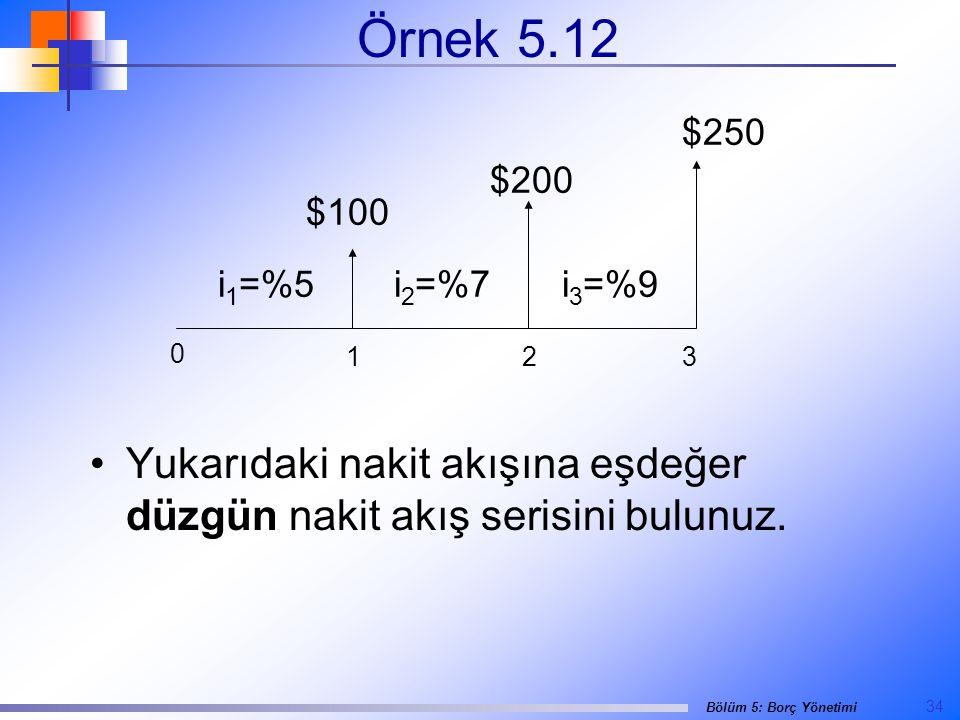 Örnek 5.12 $250. $200. $100. i1=%5. i2=%7.