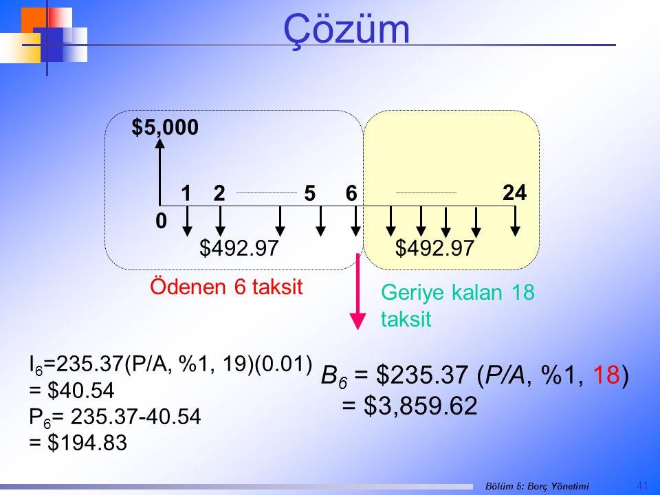 Çözüm $5,000. 24. 1. 2. 6. 5. $492.97. $492.97. Ödenen 6 taksit. Geriye kalan 18 taksit. I6=235.37(P/A, %1, 19)(0.01)