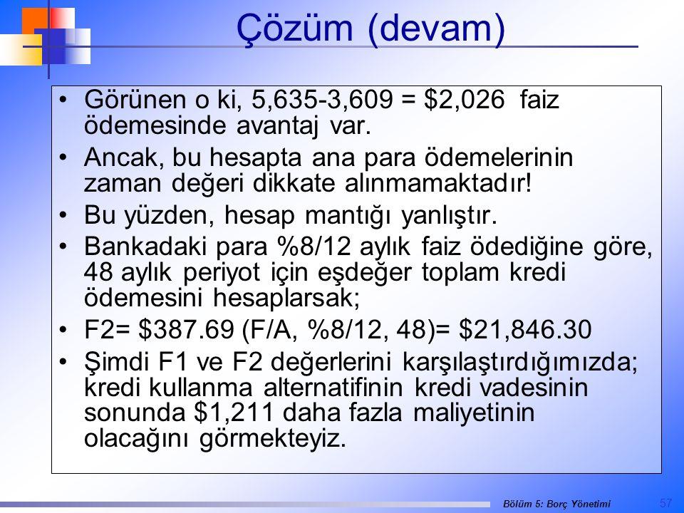 Çözüm (devam) Görünen o ki, 5,635-3,609 = $2,026 faiz ödemesinde avantaj var.