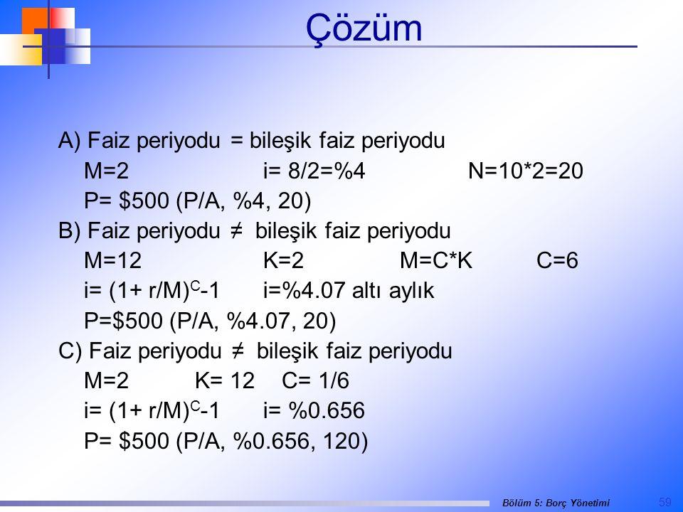 Çözüm A) Faiz periyodu = bileşik faiz periyodu M=2 i= 8/2=%4 N=10*2=20