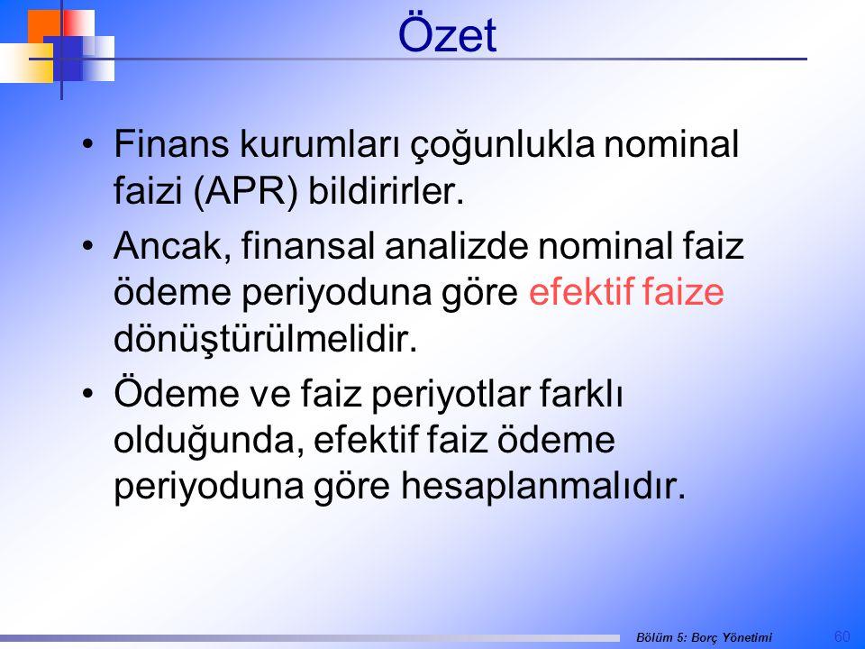 Özet Finans kurumları çoğunlukla nominal faizi (APR) bildirirler.