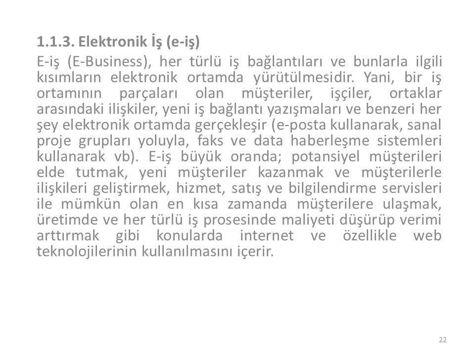 1.1.3. Elektronik İş (e-iş)