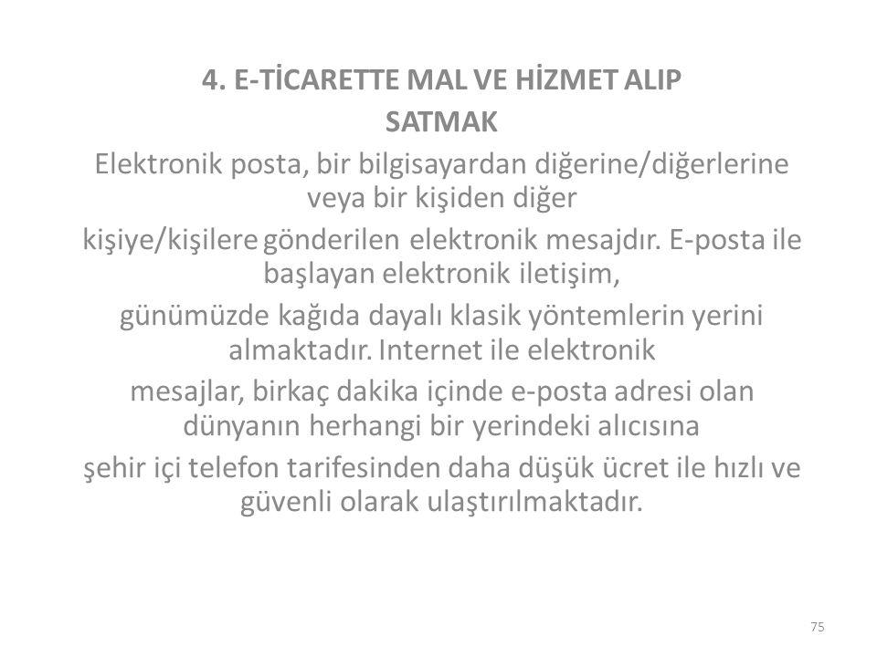4. E-TİCARETTE MAL VE HİZMET ALIP