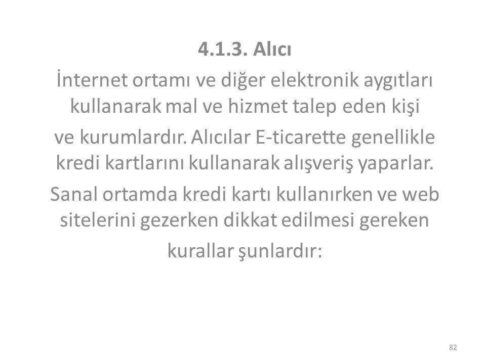 4.1.3. Alıcı İnternet ortamı ve diğer elektronik aygıtları kullanarak mal ve hizmet talep eden kişi.