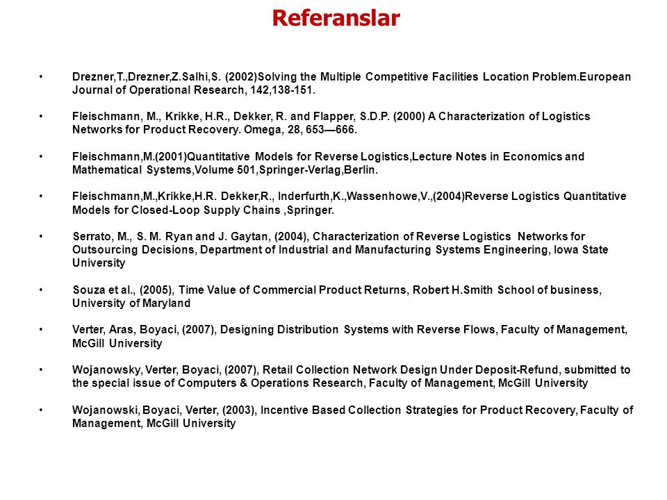 Referanslar References: