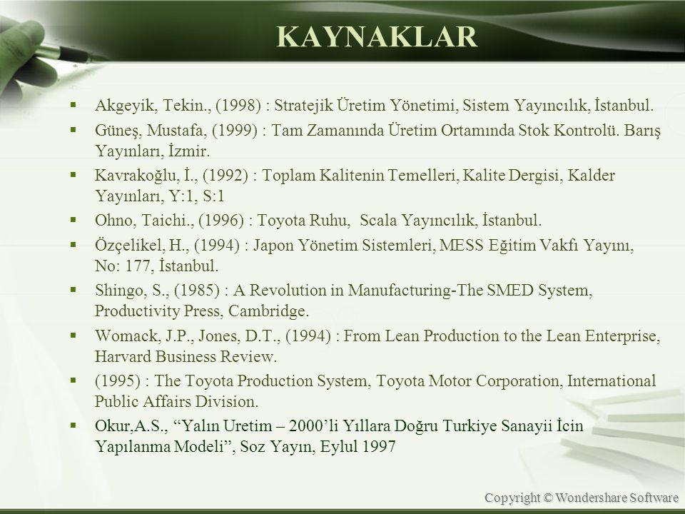 KAYNAKLAR Akgeyik, Tekin., (1998) : Stratejik Üretim Yönetimi, Sistem Yayıncılık, İstanbul.