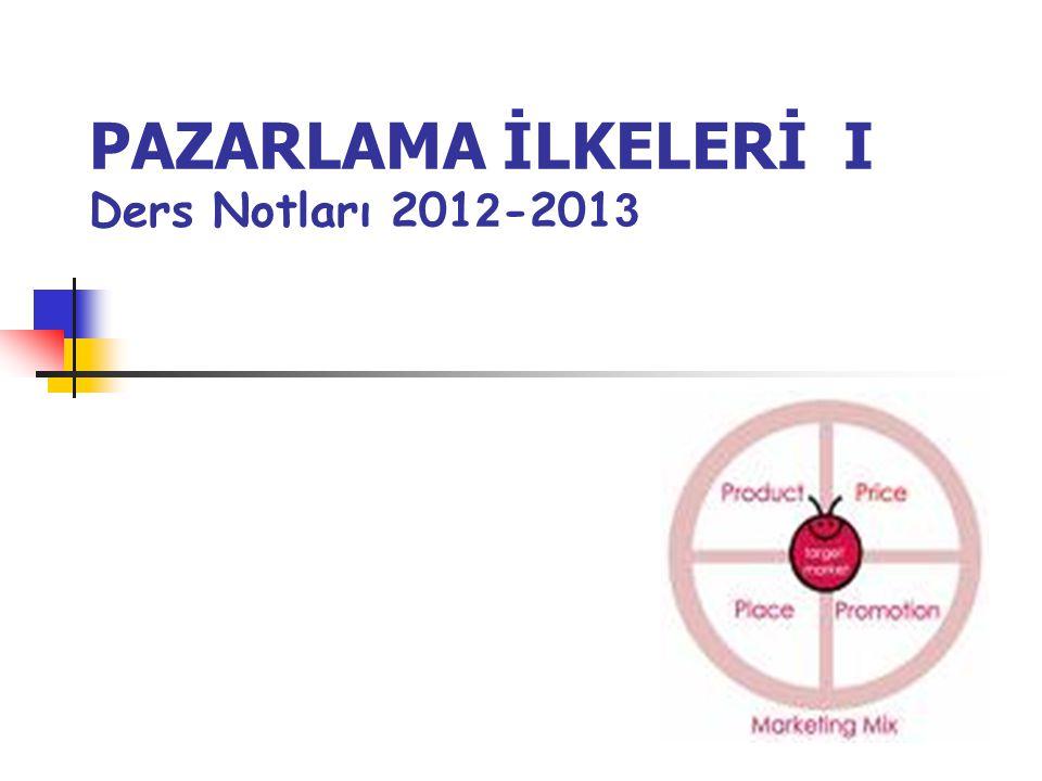 PAZARLAMA İLKELERİ I Ders Notları 2012-2013