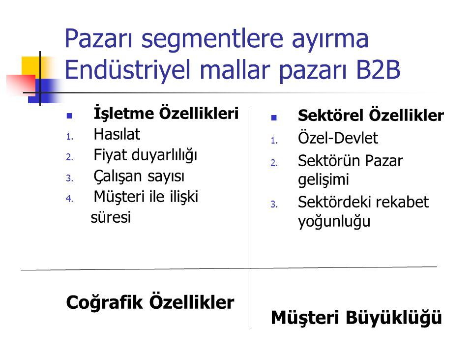 Pazarı segmentlere ayırma Endüstriyel mallar pazarı B2B