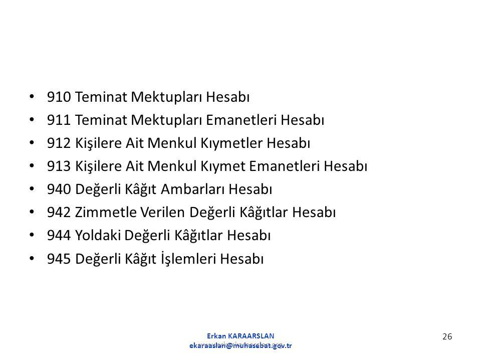 910 Teminat Mektupları Hesabı 911 Teminat Mektupları Emanetleri Hesabı