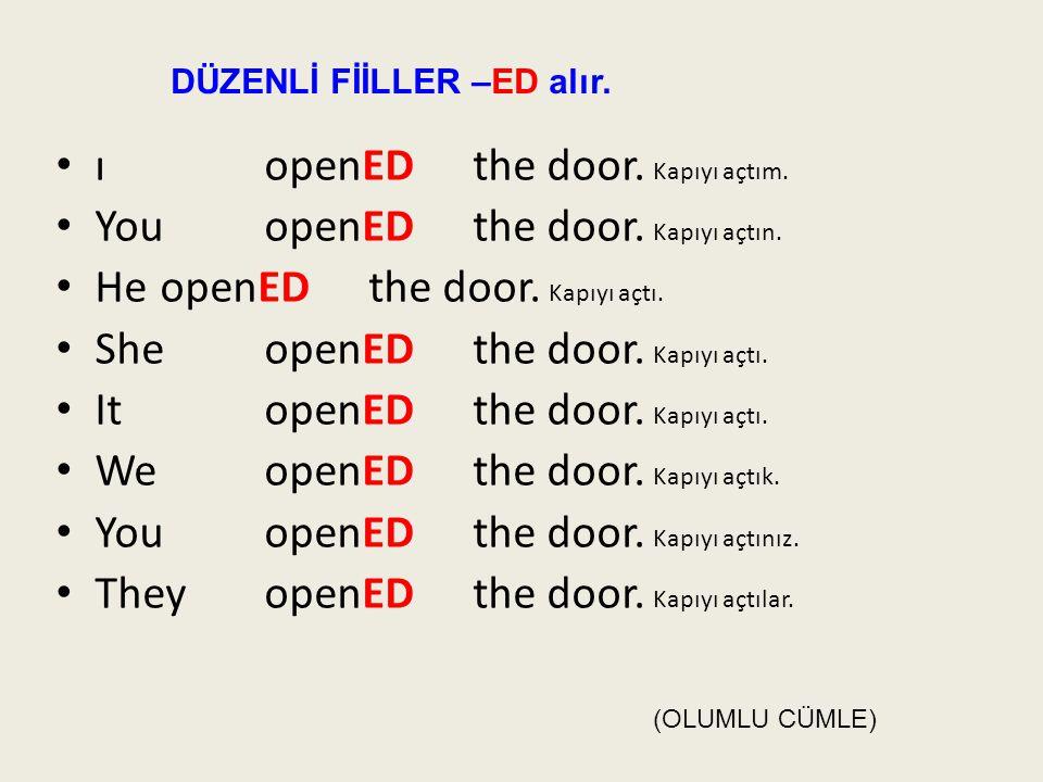 ı openED the door. Kapıyı açtım. You openED the door. Kapıyı açtın.