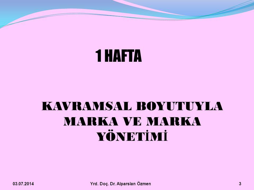 1 HAFTA KAVRAMSAL BOYUTUYLA MARKA VE MARKA YÖNETİMİ 03.04.2017