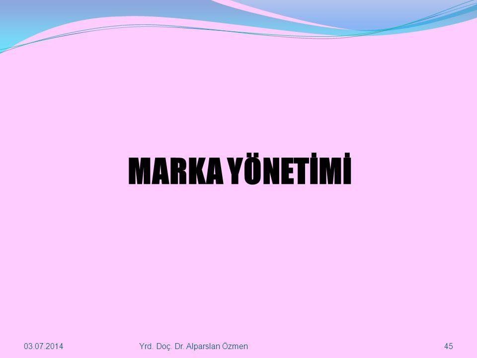 MARKA YÖNETİMİ 03.04.2017 Yrd. Doç. Dr. Alparslan Özmen