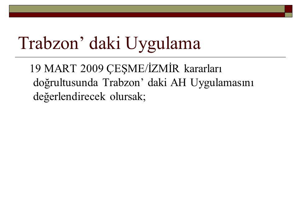 Trabzon' daki Uygulama