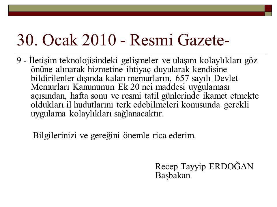 30. Ocak 2010 - Resmi Gazete-