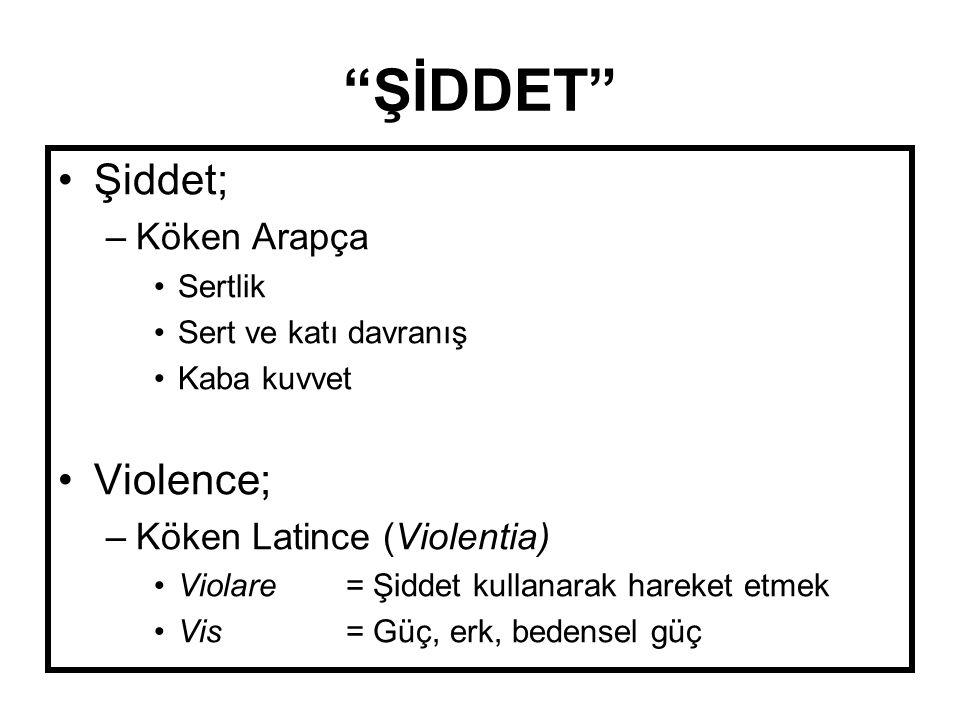 ŞİDDET Şiddet; Violence; Köken Arapça Köken Latince (Violentia)