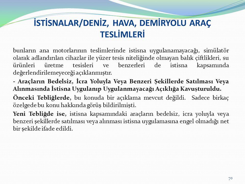 İSTİSNALAR/DENİZ, HAVA, DEMİRYOLU ARAÇ TESLİMLERİ