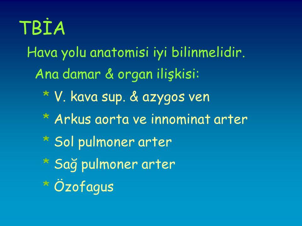 TBİA Hava yolu anatomisi iyi bilinmelidir. Ana damar & organ ilişkisi: