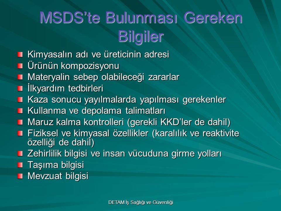 MSDS'te Bulunması Gereken Bilgiler