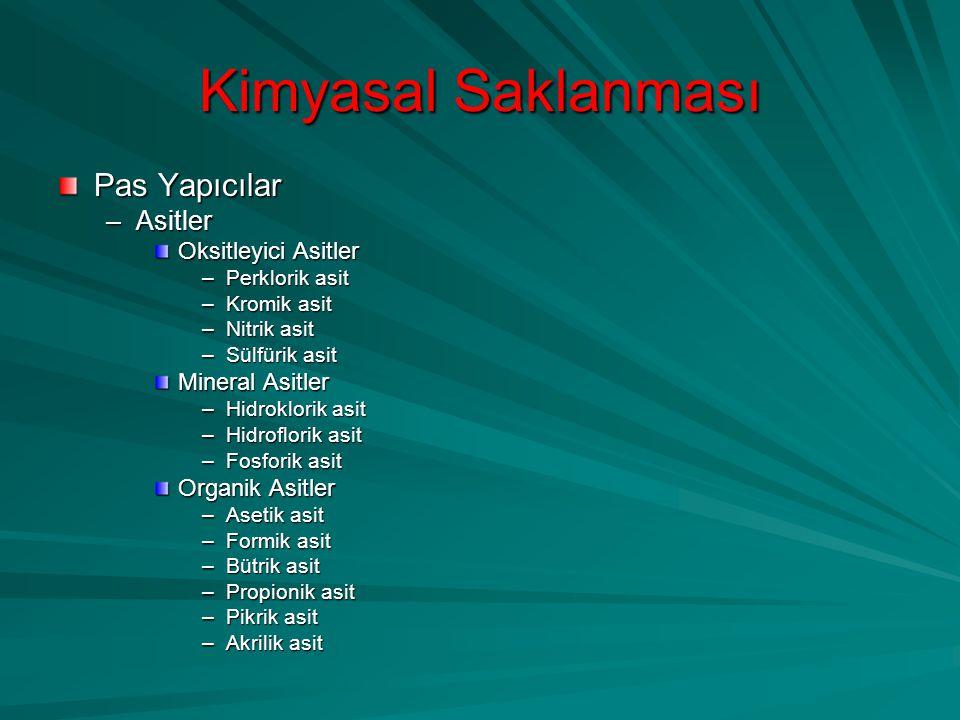 Kimyasal Saklanması Pas Yapıcılar Asitler Oksitleyici Asitler