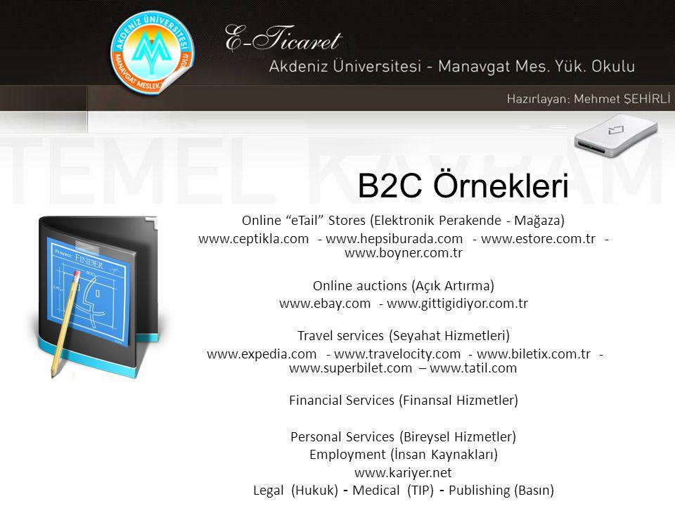 B2C Örnekleri Online eTail Stores (Elektronik Perakende - Mağaza)