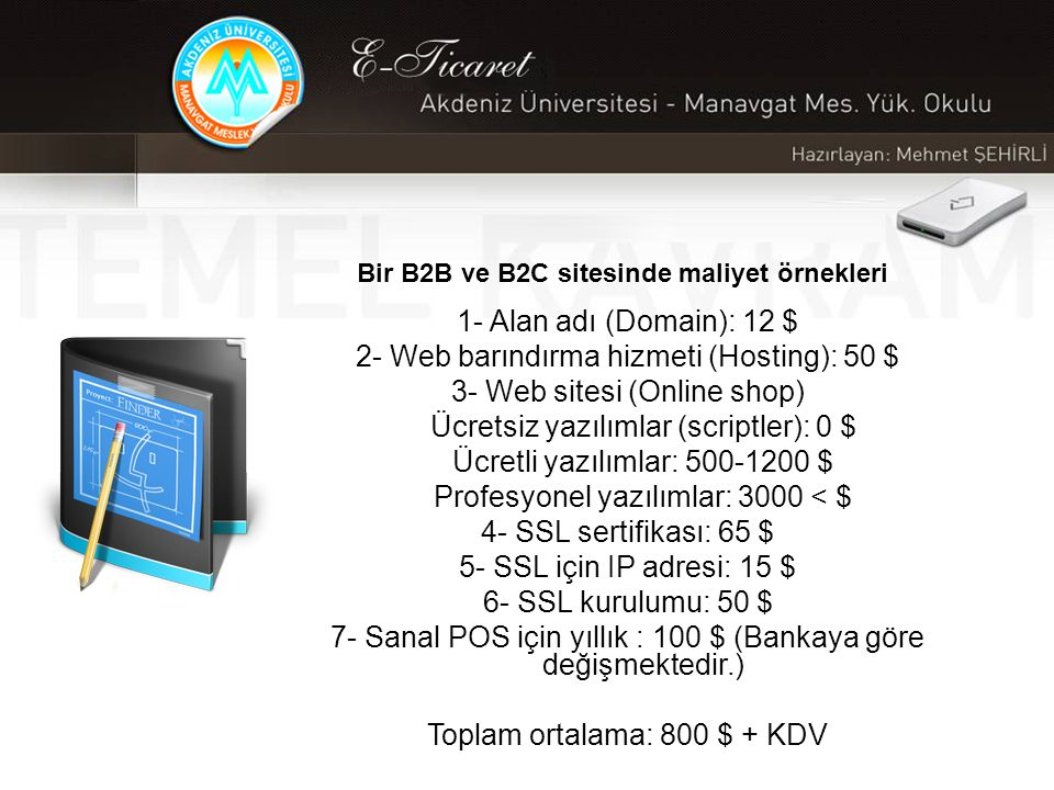 Bir B2B ve B2C sitesinde maliyet örnekleri