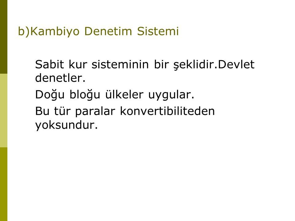 b)Kambiyo Denetim Sistemi