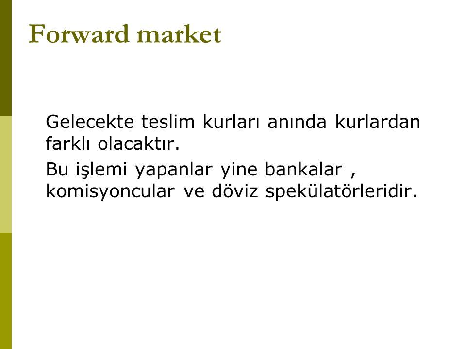 Forward market Gelecekte teslim kurları anında kurlardan farklı olacaktır.