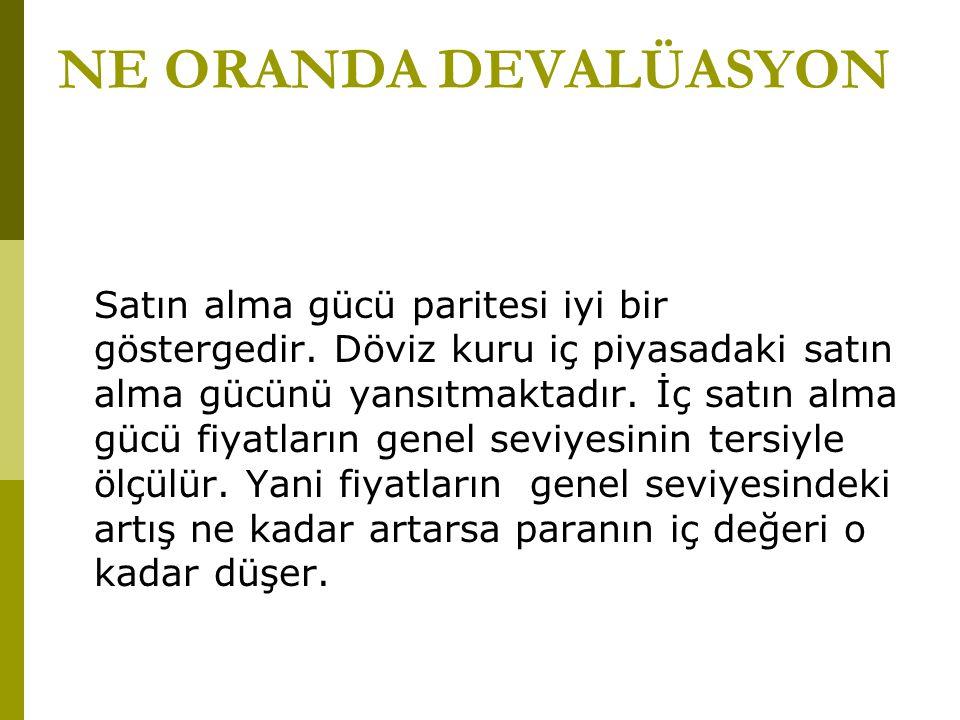 NE ORANDA DEVALÜASYON