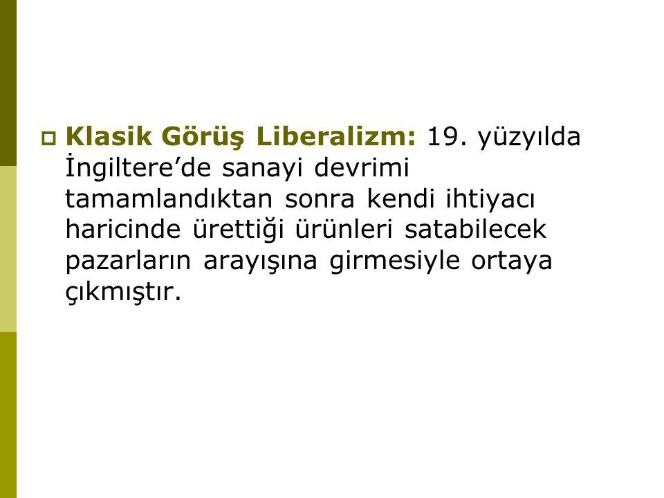 Klasik Görüş Liberalizm: 19