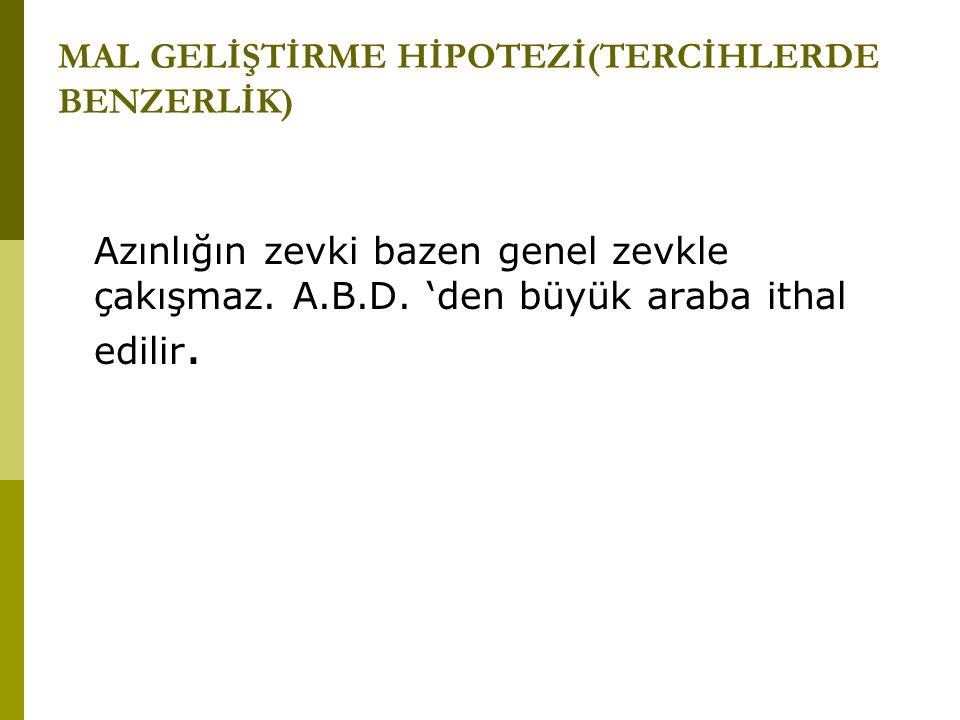 MAL GELİŞTİRME HİPOTEZİ(TERCİHLERDE BENZERLİK)