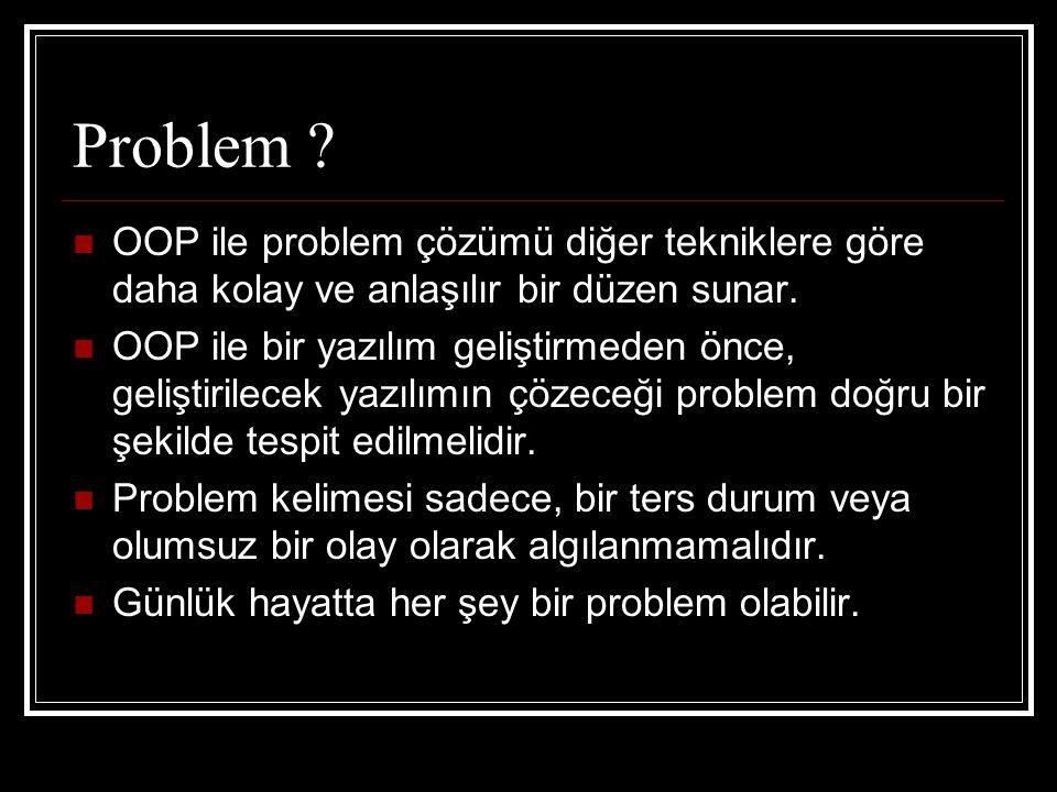 Problem OOP ile problem çözümü diğer tekniklere göre daha kolay ve anlaşılır bir düzen sunar.