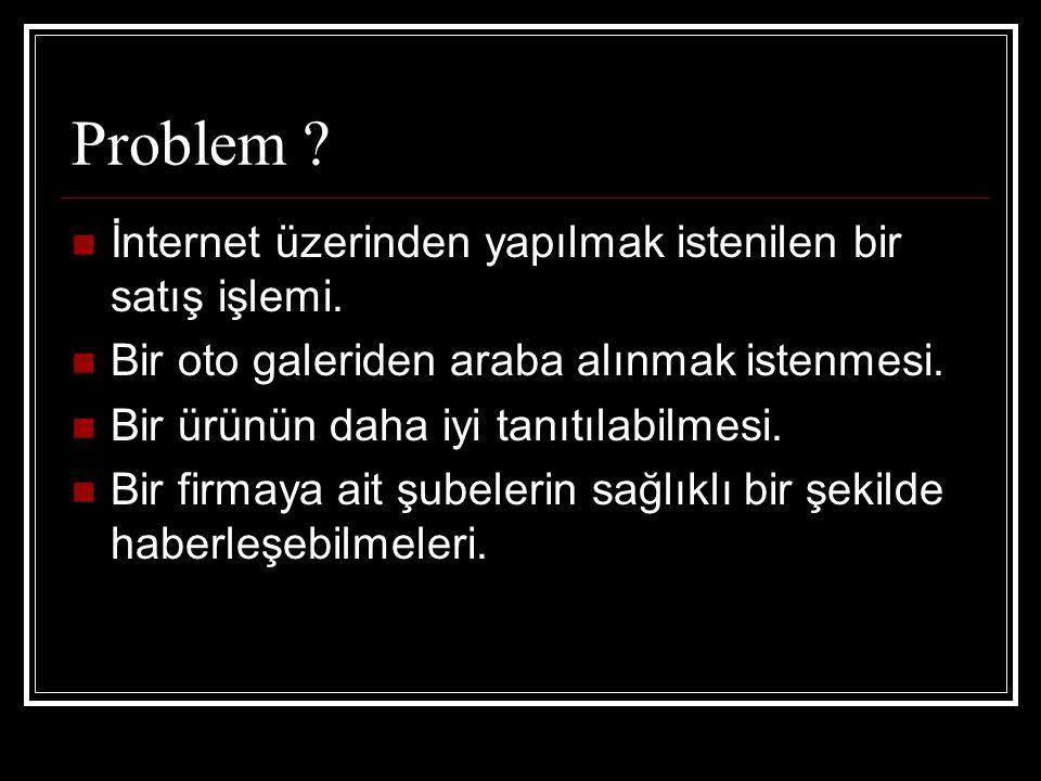 Problem İnternet üzerinden yapılmak istenilen bir satış işlemi.