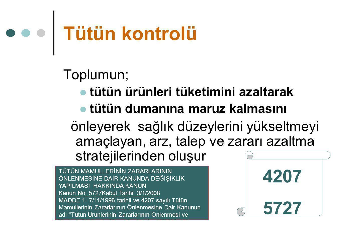 Tütün kontrolü 4207 5727 Toplumun;