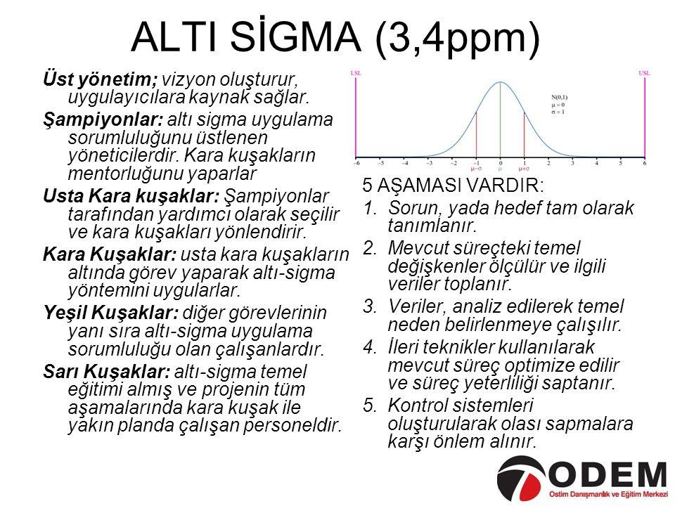 ALTI SİGMA (3,4ppm) Üst yönetim; vizyon oluşturur, uygulayıcılara kaynak sağlar.