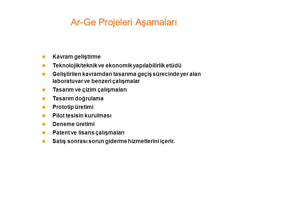 Ar-Ge Projeleri Aşamaları