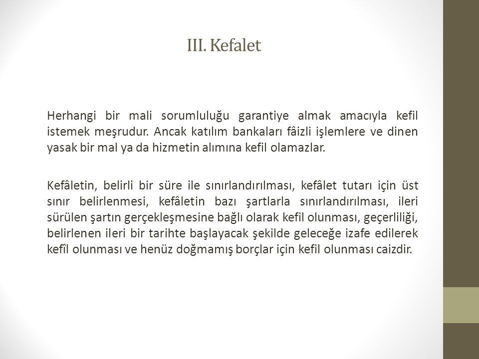 III. Kefalet