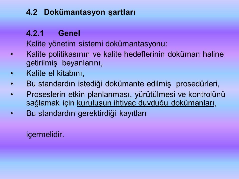 4.2 Dokümantasyon şartları
