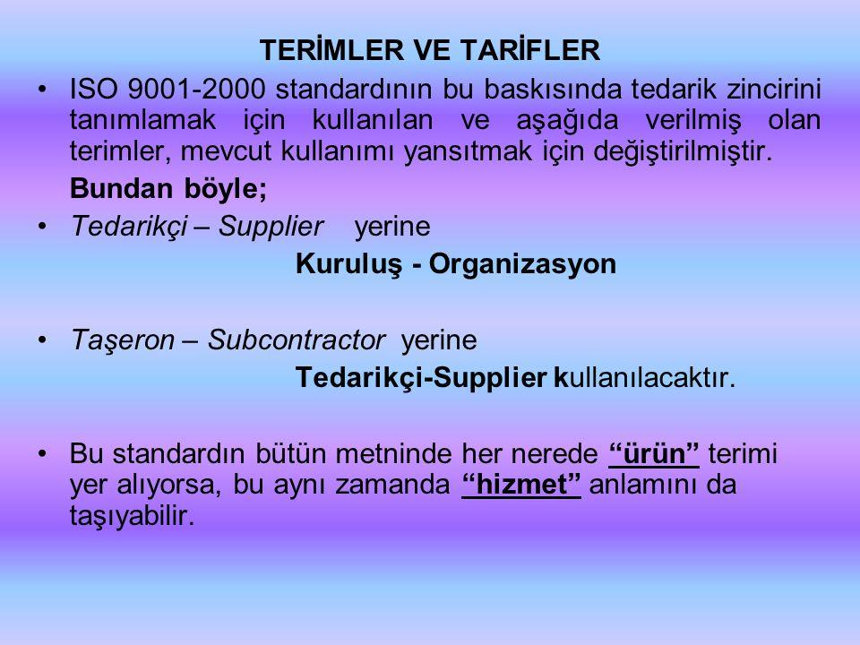TERİMLER VE TARİFLER
