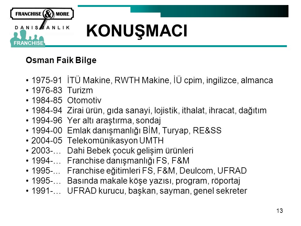 KONUŞMACI Osman Faik Bilge