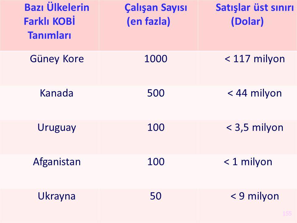 Bazı Ülkelerin Farklı KOBİ Tanımları Çalışan Sayısı (en fazla)