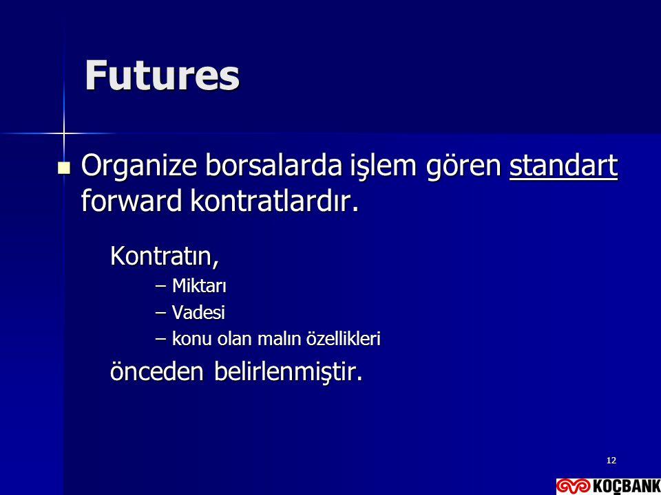 Futures Organize borsalarda işlem gören standart forward kontratlardır. Kontratın, Miktarı. Vadesi.