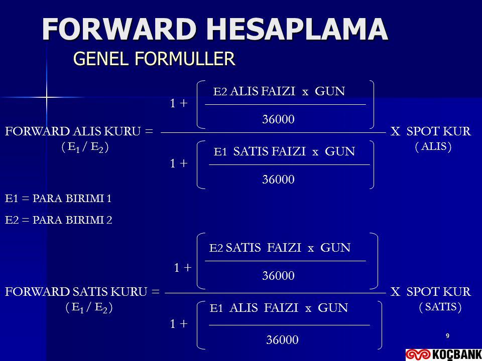 FORWARD HESAPLAMA GENEL FORMULLER E2 ALIS FAIZI x GUN 1 + 36000