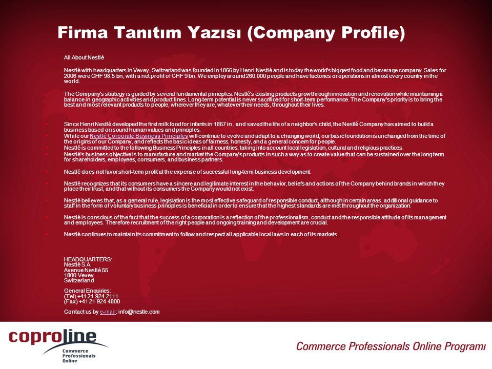 Firma Tanıtım Yazısı (Company Profile)