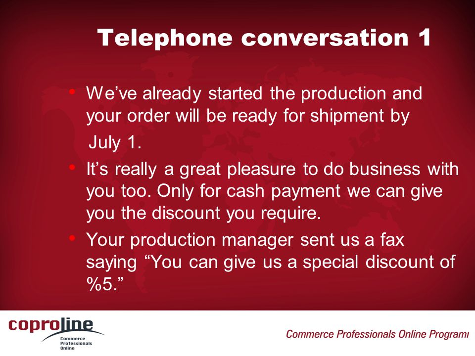 Telephone conversation 1